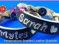 Personalized-Braided-Leather-Bracelet-black-natural-Engraving-Sample-Sarah-Miles-Hearts