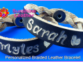 Personalized-Braided-Leather-Bracelet-brown-natural-Engraving-Sample-Sarah-Miles-Heart