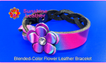 Blended-Color-Flower-Leather-Bracelet