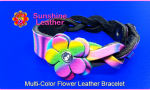 Multi-Color-Flower-Leather-Bracele2t